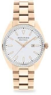 Movado Heritage Series Datron Diamond& Goldplated Stainless Steel Bracelet Watch