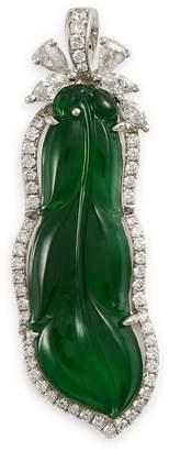LC Collection Jade Diamond jade 18k white gold leaf pendant