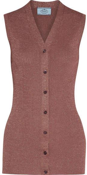 Prada - Metallic Ribbed-knit Vest - Antique rose