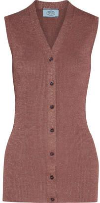 Prada Metallic Ribbed-knit Vest - Antique rose