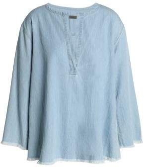 Enza Costa Frayed Cotton-Chambray Blouse