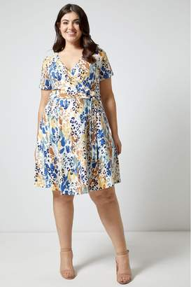 Dorothy Perkins Womens Curve Animal Print Jersey Wrap Dress - Cream