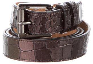 Jimmy ChooJimmy Choo Embossed Metallic Leather Belt