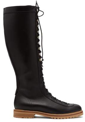 Gabriela Hearst Juan Lace Up Knee High Leather Boots - Womens - Black