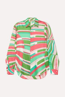 b085d3d81bce3f Emilio Pucci Printed Silk Crepe De Chine Shirt - Green