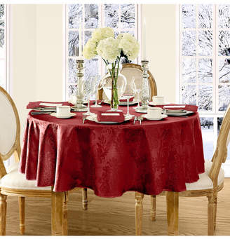 "Elrene Barcelona Damask Red 90"" round Tablecloth"
