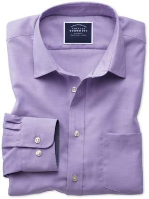 Charles Tyrwhitt Slim Fit Non-Iron Oxford Purple Plain Cotton Casual Shirt Single Cuff Size XS