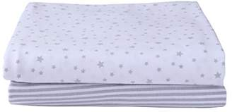 Clair De Lune Stars & Stripes 2 Pack Fitted Cot Sheets - Grey