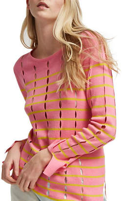 French Connection Lattice Knit Stripe Open-Work Cotton Sweater