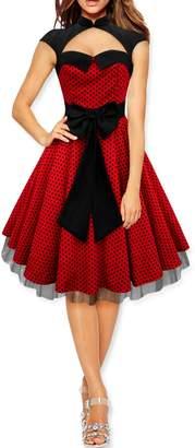 BlackButterfly 'Athena' Polka Dot Large Bow Dress (White, US 12)