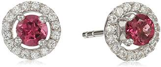 Sterling Silver Sapphire and Created White Sapphire Halo Stud Earrings