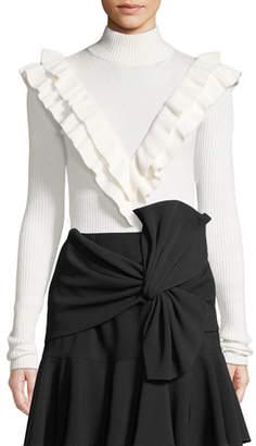 Cinq à Sept Palomino Ruffle Turtleneck Pullover Sweater