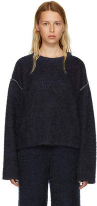 MM6 MAISON MARGIELA Blue Sparkling Knit Jersey Crewneck Sweater