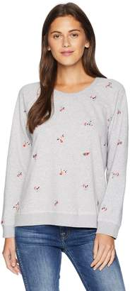 Lucky Brand Women's Embroidered Allover Flowers Pullover Sweatshirt