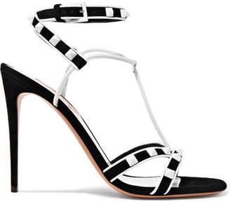 Valentino Garavani The Rockstud Suede And Leather Sandals - Black