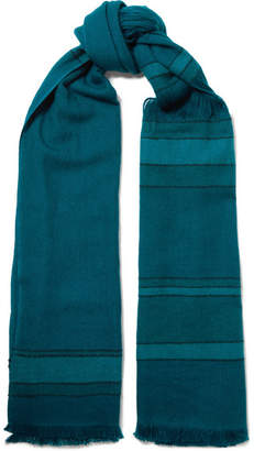 MELT - Lalita Fringed Striped Wool Scarf - Teal