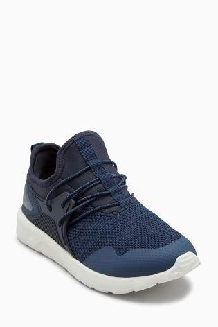 Boys Navy Elastic Lace Fashion Trainers (Older Boys) - Blue