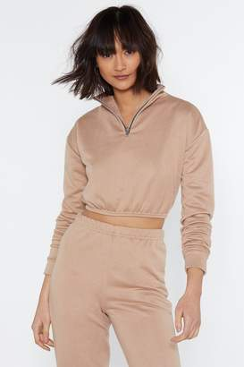 Nasty Gal Just for Funnel Cropped Zip Sweater