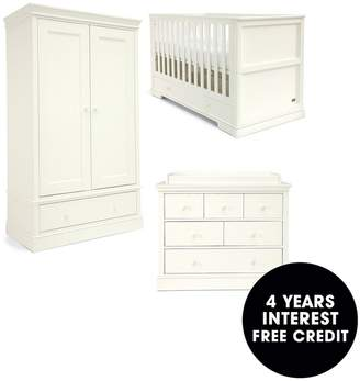 Mamas and Papas Oxford Cotbed, Dresser & Wardorbe -White
