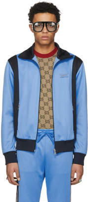 Gucci Blue and Black Tiger Patch Zip-Up Jacket