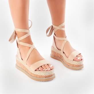 Public Desire Fresca Lace Up Sandal in Nude