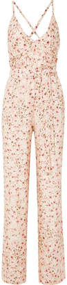 Paloma Blue - Eclipse Floral-print Silk-satin Jumpsuit - Baby pink