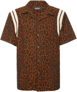 JUST DON Leopard-Print Cotton-Poplin Bowling Shirt Size: S