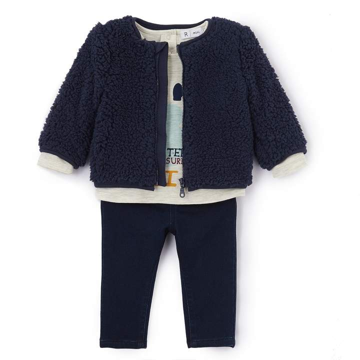 La Redoute Collections Winter Baby Outfit with Faux Fur Coat, 1 Mth-3 Years