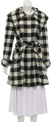 Alice + Olivia Short Checkered Wool Coat