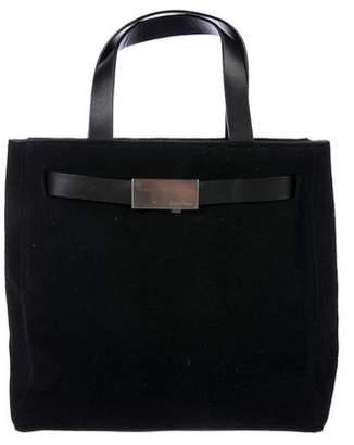 Calvin Klein Leather-Trimmed Wool Tote