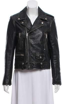 Saint Laurent Distressed Leather Moto Jacket