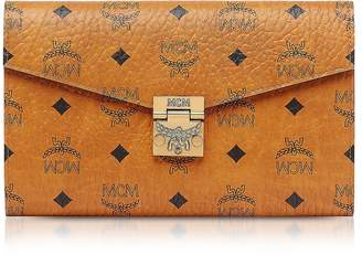 MCM Cognac Patricia Visetos Large Wallet Crossbody Bag