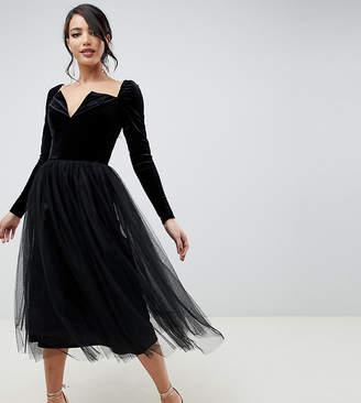 Asos Tall DESIGN Tall Velvet Tulle Midi Dress