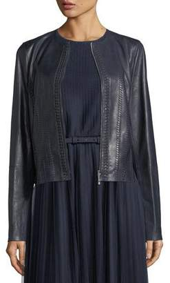 Lafayette 148 New York Clyde Braid-Detail Leather Jacket