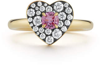 Jemma Wynne 18k yellow gold heart ring with pink sapphire and diamonds