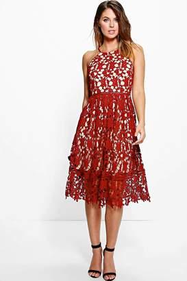 boohoo Boutique Strappy Lace Midi Skater Dress