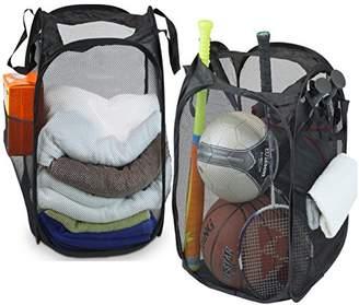 Laundry by Shelli Segal 2 Pack - SimpleHouseware Mesh Pop-Up Hamper Basket With Side Pocket