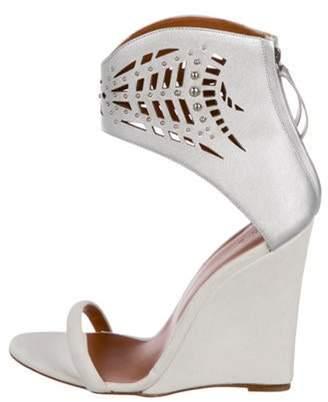 IRO Suede Wedge Sandals Grey Suede Wedge Sandals