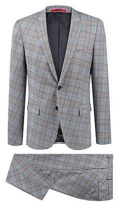 HUGO BOSS Extra-slim-fit virgin-wool suit with turned check pattern