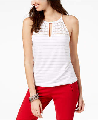 INC International Concepts I.n.c. Petite Illusion Striped Halter Top, Created for Macy's