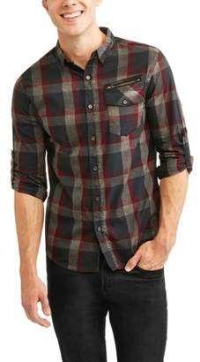 Straight Faded Men's Long Sleeve Button Down Yarn Dye Shirt With Zipper