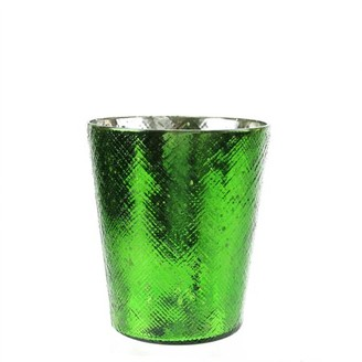 """Northlight 5.5"""" Decorative Green and Silver Mercury Glass Votive Candle Holder"""