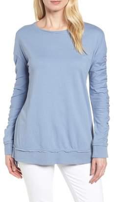 Caslon Scrunch Sleeve Sweatshirt (Petite)