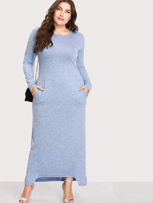d1940d1a01d Shein Plus Dual Pocket Dip Hem Dress