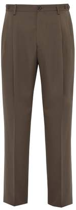Lanvin Virgin Wool Twill Wide Leg Trousers - Mens - Beige