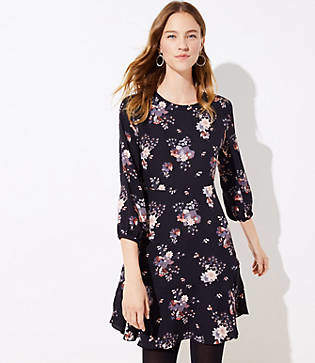 LOFT Petite Wildflower Flounce Dress