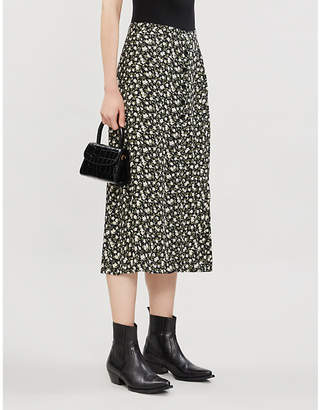 Reformation Jaime floral-print high-waist crepe midi skirt