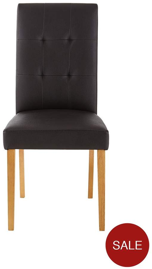 Pair Of Derby Faux Leather Dining Chairs