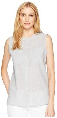 Pendleton Stripe Linen Sleeveless Shirt Women's Clothing