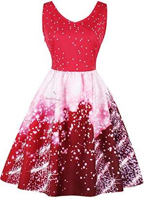Uhnice Womens A-line Vintage Christmas Cocktail Party Dress